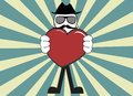 Inlove hipster cartoon pictogram background retro Stock Images