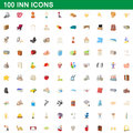 100 inn icons set, cartoon style