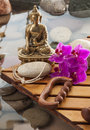 Inner beauty and meditation for natural wellbeing meditating buddha after soothing massage Royalty Free Stock Image