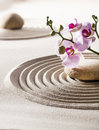 Inner beauty with zen flowers symbol of smooth femininity asian garden concept and orchid Royalty Free Stock Photos
