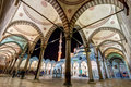 The inner courtyard of the Blue Mosque at night in Istanbul Royalty Free Stock Photo