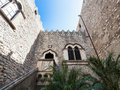 Inner courtyard of Corvaja Palace in Taormina Royalty Free Stock Photo