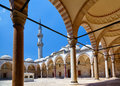 The inner courtyard of suleymaniye mosque istanbul view surrounded by arched gallery in turkey Royalty Free Stock Image