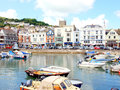 Inner harbour dartmouth devon the harbor and town at england uk Royalty Free Stock Photos