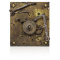 Inner workings of an old fashioned clock Royalty Free Stock Images