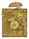 Inner workings of an old fashioned clock Royalty Free Stock Photo
