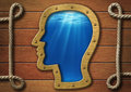 The inner world concept. Head porthole on wall and sea underwater