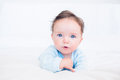 Innocent baby with blue eyes Royalty Free Stock Photo