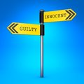 Innocent or guilty concept of choice yellow two way direction sign with the words and on blue background Royalty Free Stock Photos