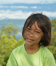 Innocent kid asian with face expression happy face and gentle eyes Stock Photo