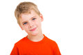Innocent little boy looking at the camera isolated on white background Royalty Free Stock Photos