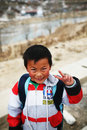 Innocent smile of the asian boy photo taken in lasa city tibet china Stock Photography