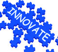 Innovate Puzzle Shows Creative Design Stock Images