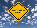 Innovation ahead road sign with blue sky and cloudscape background Royalty Free Stock Photography