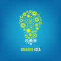 Innovation, creative idea vector concept with light bulb and gears Royalty Free Stock Photo