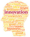 Innovation and technology concept in tag cloud related words inside human head Royalty Free Stock Photo