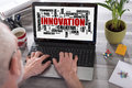 Innovation word cloud concept on a laptop screen Royalty Free Stock Photo