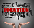 Innovation word cloud concept sustained by open hands Royalty Free Stock Photo