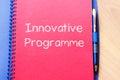 Innovative programme write on notebook Royalty Free Stock Photo
