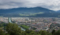Innsbruck panorama was captured from a nordkette cable car station up the mountains above the city Royalty Free Stock Photos