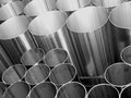 Inox Steel pipes on black and white Royalty Free Stock Photo
