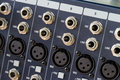 Input sockets of the audio mixer Royalty Free Stock Photography