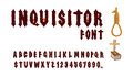 Inquisitor font. Ancient Gothic font. Font for Holy Inquisition.