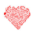 Inscription on the different languages shape of he heart romance Royalty Free Stock Images