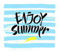 Inscription Enjoy Summer. Great summer gift card. Vector illustration on white background. Fashionable calligraphy. Royalty Free Stock Photo