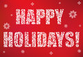 Inscription: Happy Holidays on a red background. Decorative Font with swirls and floral elements.