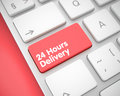 Inscription 24 Hours Delivery on Red Keyboard Keypad. 3D.