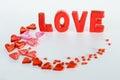 Inscription love valentine s day holiday Stock Photos