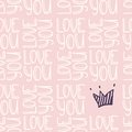 Inscription LOVE YOU with crown seamless pattern