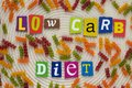 Inscription low carb diet from multicolored letters showing eating healthy concept. A word writing text low carb diet made of dif