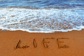 Inscription on sand life empty beach the sea Stock Photography