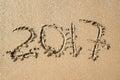Inscription 2017 on the sand