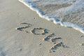 Inscription on sea sand beach Stock Photos