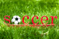 Inscription soccer on the green grass Royalty Free Stock Images