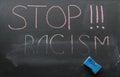 Inscription of stop racism