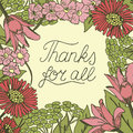 Inscription Thanks for all made on floral background.