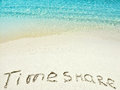 Inscription Timeshare in the sand on a tropical island, Maldives.