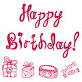 Inscription vector illustration of an happy birthday Royalty Free Stock Photo