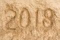 Inscription 2018 on the yellow sand