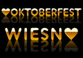 Inscriptions oktoberfest and wiesn written by font in form of beer with reflection on black background Stock Images
