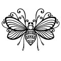 Insect bee vector beautiful exotic patterned design tattoo Stock Images