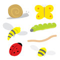 Insect Bug Snail Ladybird Butterfly Caterpillar Worm Wasp Bee Cartoon Vector Royalty Free Stock Photo