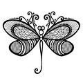 Insect dragonfly vector beautiful exotic patterned design tattoo Stock Image