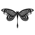 Insect dragonfly vector beautiful exotic patterned design tattoo Royalty Free Stock Photo