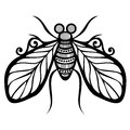 Insect fly vector beautiful exotic patterned design tattoo Royalty Free Stock Photography