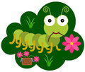 An insect hobby illustration of a cute caterpillar collecting flowers Royalty Free Stock Images